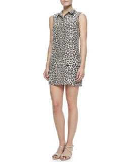 Womens Lucida Leopard Print Silk Dress   Equipment   Stone (X SMALL/0 2)