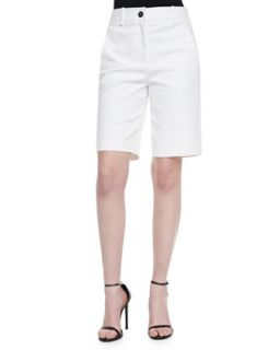 Womens Flat Front Long Shorts, White   Robert Rodriguez   White (10)