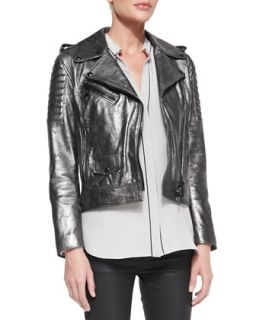 Womens Metallic Leather Moto Jacket   Belstaff   Gunmetal (42/6)