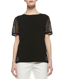Womens Short Sleeve Sweater with Eyelet Detail   Lafayette 148 New York