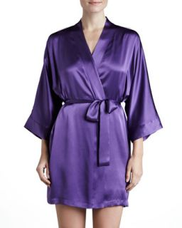 Womens Silk Short Robe, Violet   Violet (MEDIUM)