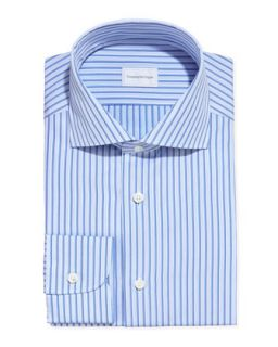 Mens Satin Stripe Dress Shirt, Blue/Light Blue   Ermenegildo Zegna   Blue (18)