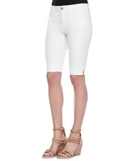 Womens Twill Bermuda Shorts, White   Minnie Rose   White (4)