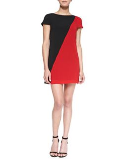 Womens Serina Diagonal Two Tone Dress   Alice + Olivia   Black/Scarlet (LARGE)