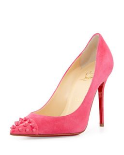 Geo Spike Point Toe Red Sole Pump, Pink   Christian Louboutin   Pink (38.5B/8.