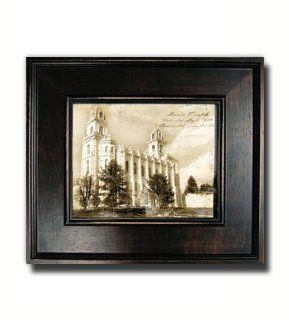 Antiqued Manti Temple Print  Large Black Frame  Perfect Wedding Gift, Christmas, Anniversary, Birthday, and House Warming Gift  Incourage Celestial Marriage  Mormon Temple  Home Decor  Framed Art  Help Children to Understand the Importance of the Temple  G