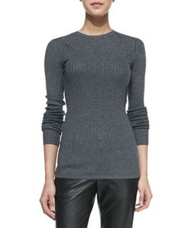 Womens Ribbed Knit Crewneck Sweater   Vince   Thunder (SMALL)