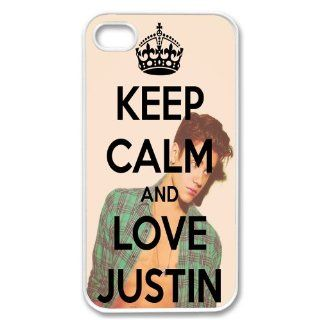 Apple Iphone 4 4g 4s Keep Calm and Love Justin Bieber Retro Vintage White Sides Case Skin Cover Protector Accessory Cell Phones & Accessories