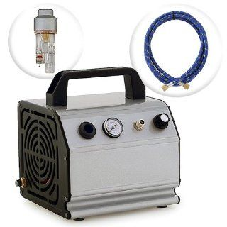 Low Noise Oil Less Airbrush Air Compressor w/ 6' Hose 1/6 HP