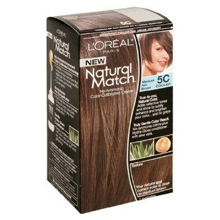 L'Oreal Natural Match No Ammonia Color Calibrated Creme, Medium Ash Brown, 5C Cooler Health & Personal Care