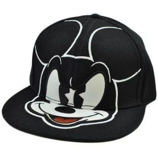 Walt Disney Mean Mickey Mouse Black White Flat Bill Fitted Large 7 3/8 Hat Cap  Sports Fan Novelty Headwear  Sports & Outdoors