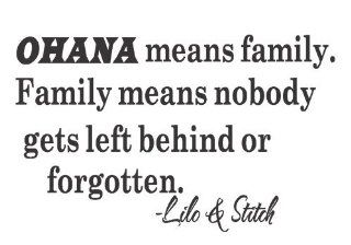 Ohana Means Family Lilo and Stitch Disney Quote Vinyl Wall Decal Decor Sticker Decor Sticker Quote Removable Letters