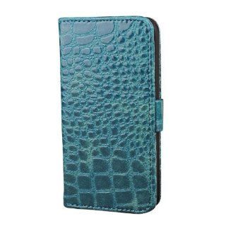 Card Wallet PU Leather Crocodile Stand Case Cover for Apple iPhone 5 + Pen Blue Cell Phones & Accessories