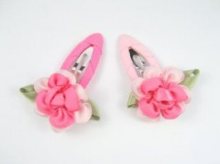 A Rose Means I Love You   Flower Hair Clip Set for Baby Girls & Toddler   Hot Pink & Light Pink Clothing