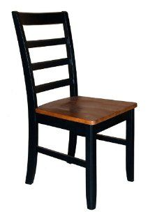 Parfait Chair w Wood Seat in Black & Cherry Finish   Set of 2   Dining Chairs