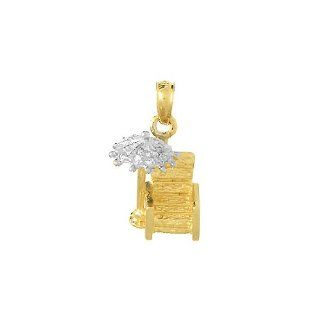 14k Gold Necklace Charm Pendant, .06 Dwt 3d Beach Chair And Umbrella With Diamon Jewelry
