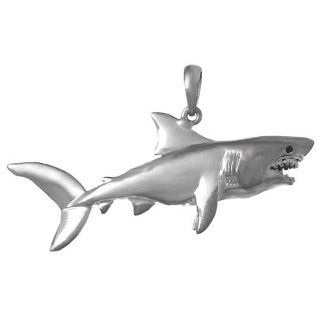 925 Sterling Silver Nautical Necklace Charm Pendant, Shark, High Polish Jewelry