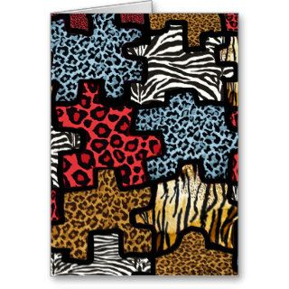 RAB Rockabilly Animal Print Puzzle Greeting Cards