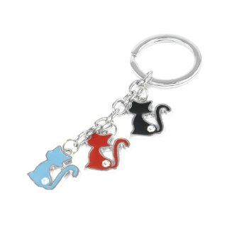 Portable Metal Ring Rhinestones Decor Colored Cat Shape Key Rings Keychain Clothing