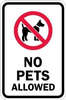 "SmartSign 3M High Intensity Grade Reflective Sign, Legend ""No Pets Allowed"" with Graphic, 18"" high x 12"" wide, Black/Red on White Industrial Warning Signs"