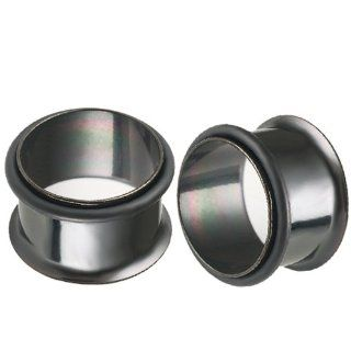 9/16 inch Gauges (13mm)   Black PVD Coated 316L Surgical Steel Single Flared Flare Tunnels Ear Plugs with Black o ring AFUJ   Ear Stretching Expanders Stretchers   Sold as a Pair Jewelry
