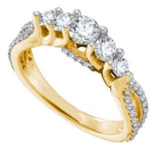 1 cttw 14k Yellow Gold Diamond Five Stone Round Brilliant Cut Diamond Engagement Ring (Real Diamonds 1 cttw, Ring Sizes 4 10) Jewelry