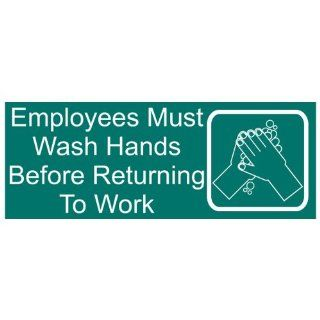 Employees Must Wash Hands Engraved Sign EGRE 312 WHTonGreen  Business And Store Signs