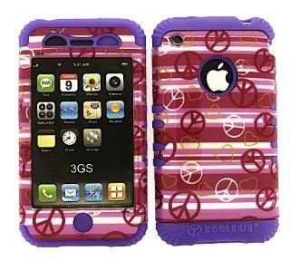 3 IN 1 HYBRID SILICONE COVER FOR APPLE IPHONE 3G 3GS HARD CASE SOFT LIGHT PURPLE RUBBER SKIN PEACE HEARTS LP TP1307 S KOOL KASE ROCKER CELL PHONE ACCESSORY EXCLUSIVE BY MANDMWIRELESS Cell Phones & Accessories