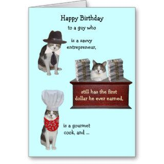 Customizable Funny Cat Male Birthday Greeting Card