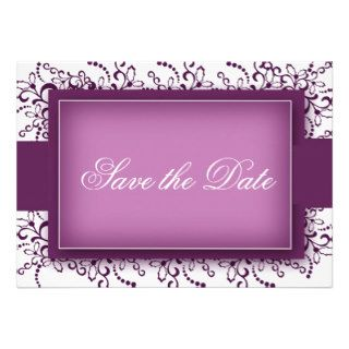Damask Border Photo Save The Dates (Eggplant) Custom Invitations