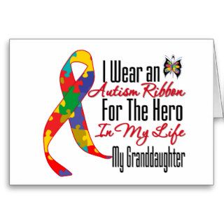 Autism Ribbon Hero in My Life My Granddaughter Greeting Card