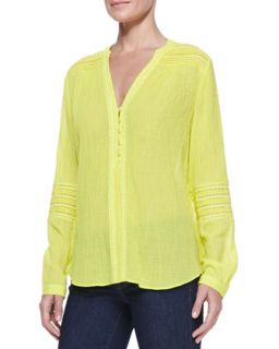 Womens Gaylen Long Sleeve Crochet Band Top, Canary Yellow   Diane von