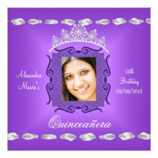 Quinceañera 15th Birthday Purple White Add Photo Custom Invitations