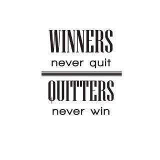 Wall Sticker Decal Quote Vinyl Art Winners Never Quit Quitters Never Win Sports   Wall Decor Stickers