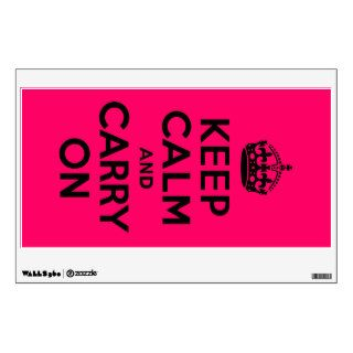 Black Pink Keep Calm and Carry On Wall Decal