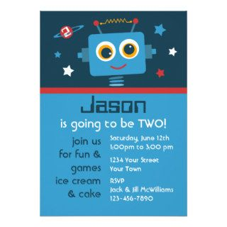Robot 2nd Birthday Custom Invitations