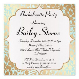 Metallic Golden Aqua Bachelorette Party Custom Invitations