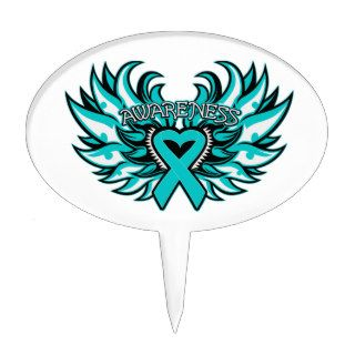 PCOS Awareness Heart Wings Cake Topper