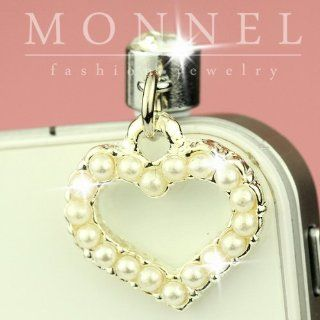 IP49 Pearl Love Heart Charm Anti Dust Jack Plug for iPhone4/4s Smart Phone Cell Phones & Accessories