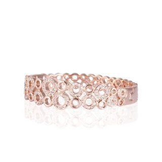 18K Rose Gold Plated Hollow Round Bubbles Swarovski Elements Clear Crystals Tennis Bracelet B161 Tennis Bracelets Jewelry