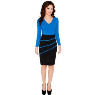 Fancy That Clothing Women's V Neck Pencil Slim Knee Length Bodycon Dress