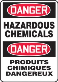 "Accuform Signs FBMCHL267VA Aluminum French Bilingual Sign, Legend ""DANGER HAZARDOUS CHEMICALS/DANGER PRODUITS CHIMIQUES DANGEREUX"", 14"" Width x 20"" Length x 0.040"" Thickness, Black/Red on White Industrial Warning Signs Industrial"