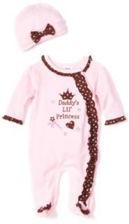 Baby Essentials Baby girls Newborn 2 Piece Daddy's Little Princess Footie With Cap, Pink, 3 6 Months Clothing