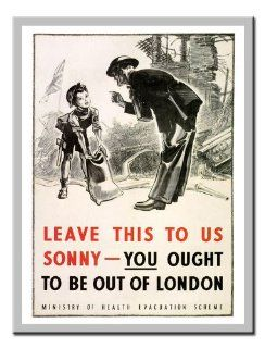 "Iposters You Ought To Be Out Of London"" War Print 1940s Silver Framed   41 X 31 Cms (approx 16 X 12 Inches)"