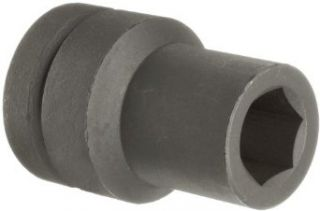 "Martin 17628 Forged Alloy Steel 7/8"" Type I Opening 1"" Power Impact Drive Socket, 6 Points Deep, 4"" Overall Length, Industrial Black Finish"