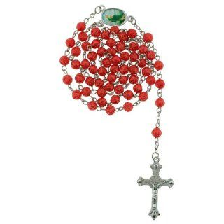 Red Rose Bud Bead Chain Link Rosary   St. Jude Centerpiece   28 in. Necklace   19 in. Overall Women Rosary Necklace Jewelry