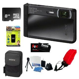 Sony DSC TX30/B 18 MP Digital Camera with 5x Optical Image Stabilized Zoom and 3.3 Inch OLED (Black) + 8GB Memory Card + Multi Card Reader Writer + Digital Camera Case + Floating Foam Strap Red + Flexible Tripod, Memory Card Wallet, 3pc Cleaning Kit  Poin