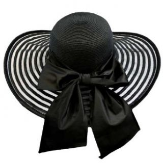 Luxury Divas Black Wide Brim Circular Pattern Floppy Hat With Large Satin Bow