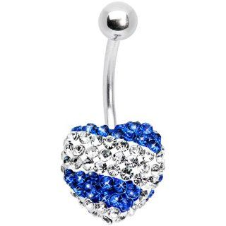 Stellar Splash Indigo Heart Sparkler Belly Ring Jewelry