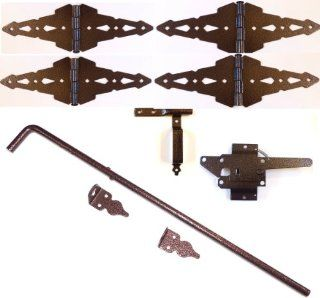 Wood Fence Double Gate Kit   Hammered Bronze Finish (Wood Gate Hinges, Latch and Drop Rod)   Garden Gates